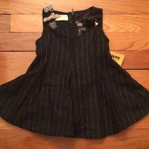 NWT Designer ELSY Girls Pinstripe Flare Dress